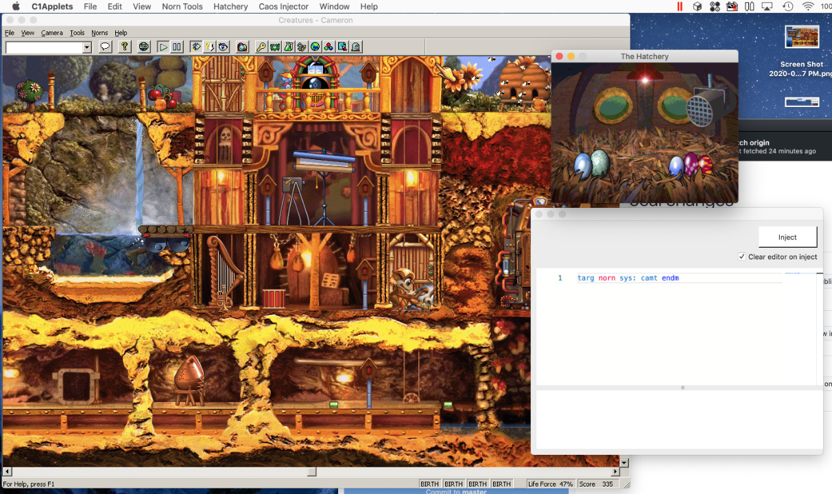 Screenshot of Creatures 1 running in wine on MacOS with hatchery and CAOS injector tool windows open
